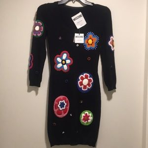 Moschino Flower patch embroidered wool dress Rare
